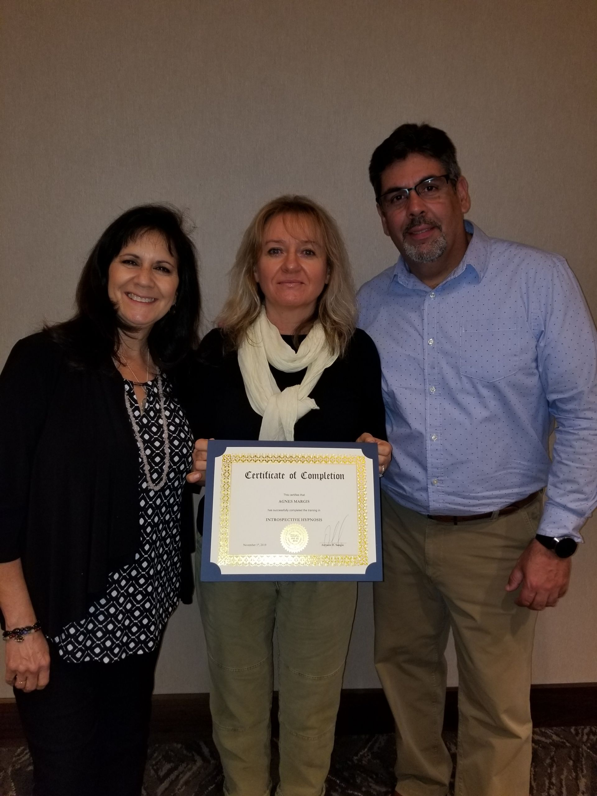 Alba Weinman and Antonio Sangio with Hypnosis by Agnes at Introspective Hypnosis Course Training and Certification